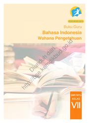 Buku Bahasa Indonesia Wahana Pengetahuan (Buku Guru)